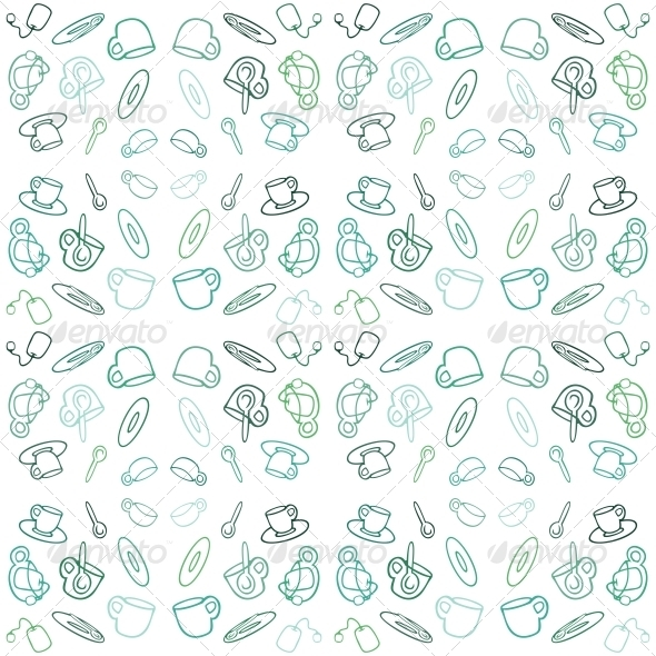 GraphicRiver Seamless Pattern with Tea Set 4892851
