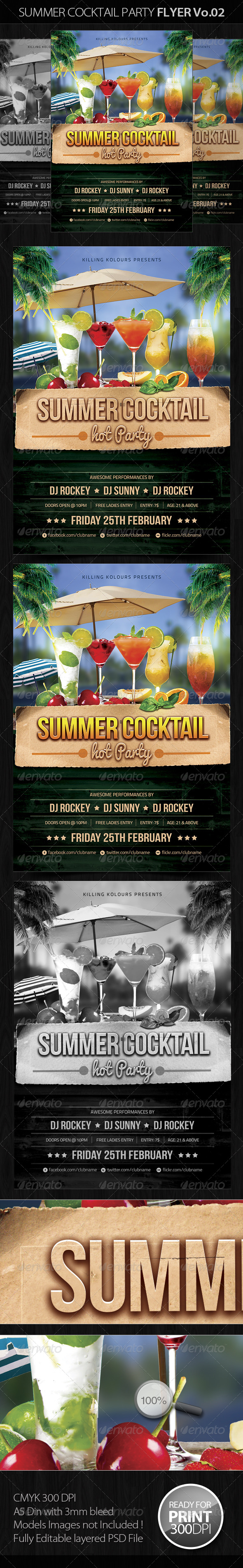Summer Cocktail Party Flyer Vo.2 - Clubs & Parties Events