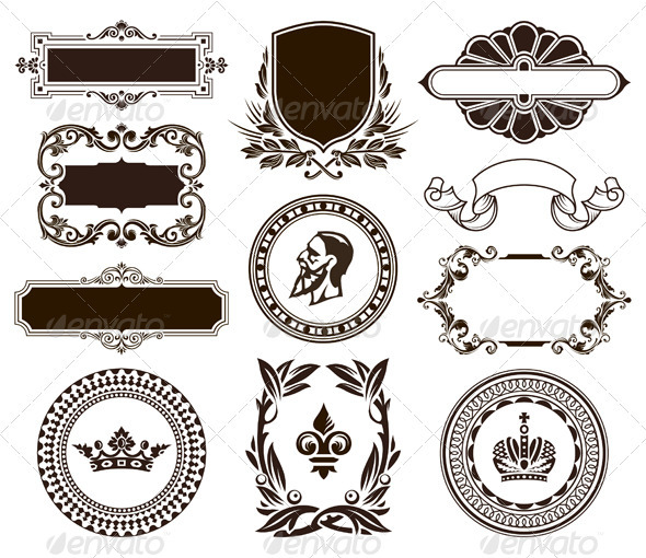 GraphicRiver Vector set of vintage frames and elements 506149