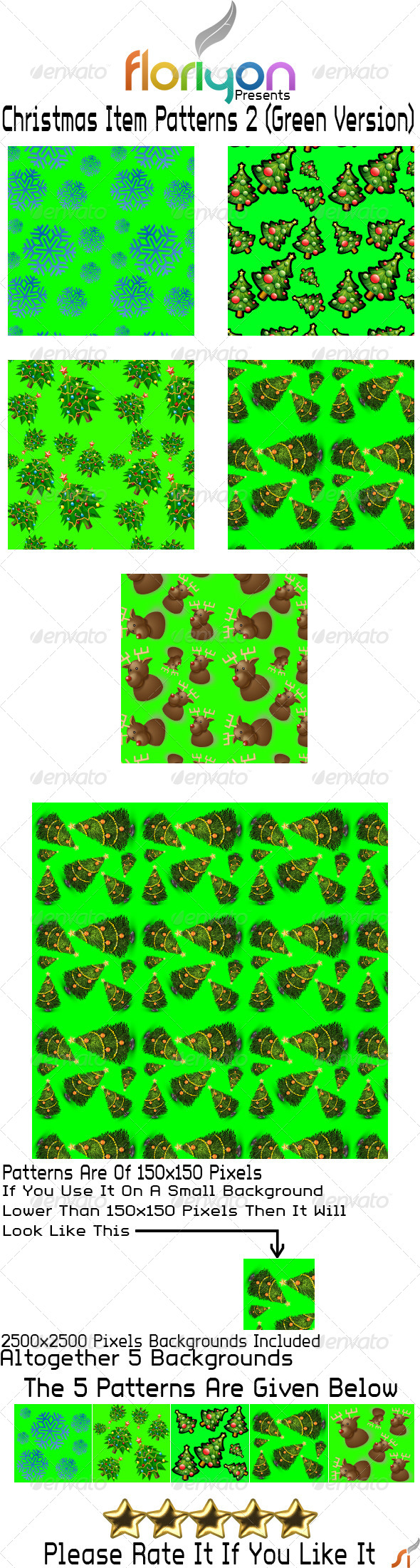 GraphicRiver Christmas Item Patterns 2 Green Version 4876132