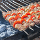 Juicy slices of meat with sauce prepare on fire (shish kebab) - PhotoDune Item for Sale