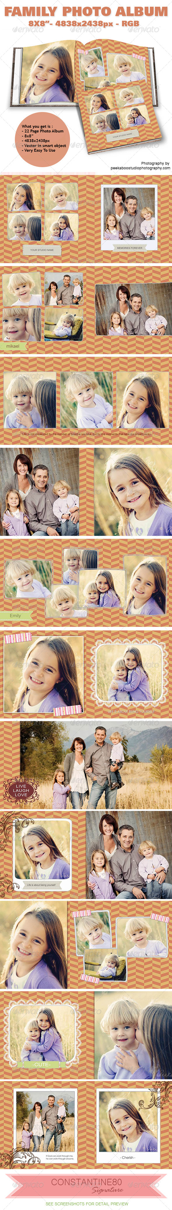 Family Photo Album - Photo Albums Print Templates
