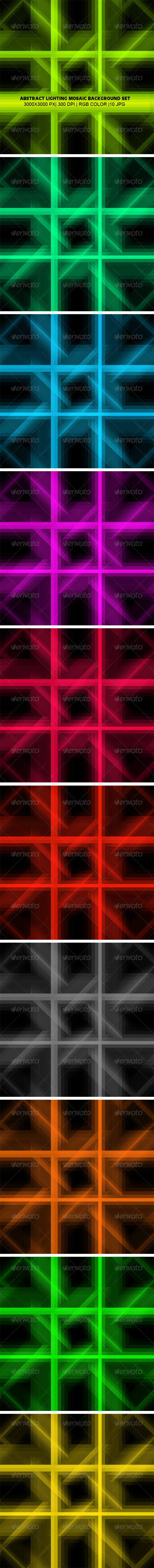 Lighting Mosaic Background Set - Backgrounds Graphics