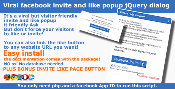 Viral facebook invitere & Like Popup - jQuery dialog - WorldWideScripts.net vare til salg