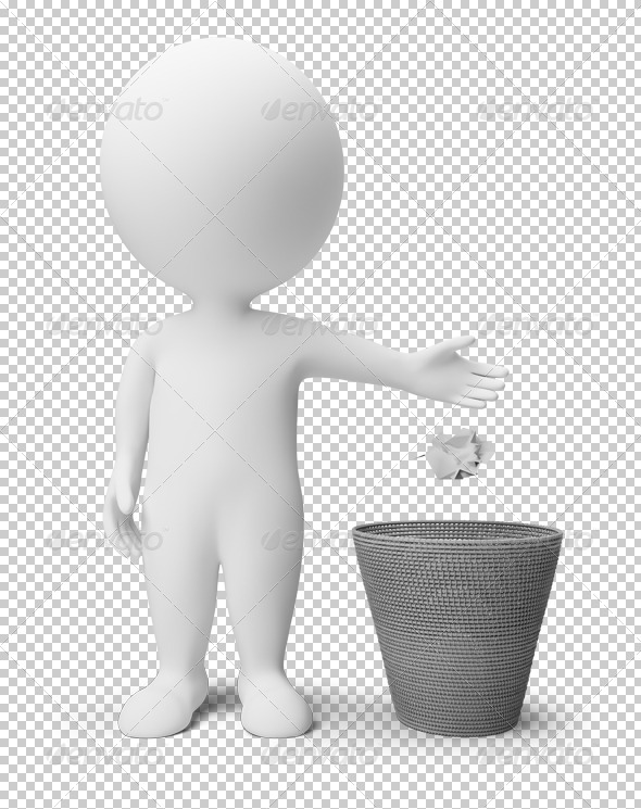 GraphicRiver 3D small people garbage basket 4900730