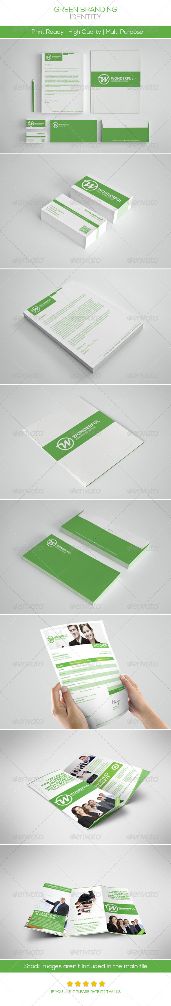 Green Branding Identity - Stationery Print Templates