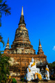 Buddha Status and the pagoda at wat yai chaimongkol temple ayutt - PhotoDune Item for Sale