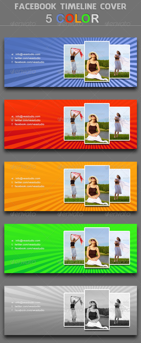 GraphicRiver Facebook Timeline Cover 5 Colors 4874791
