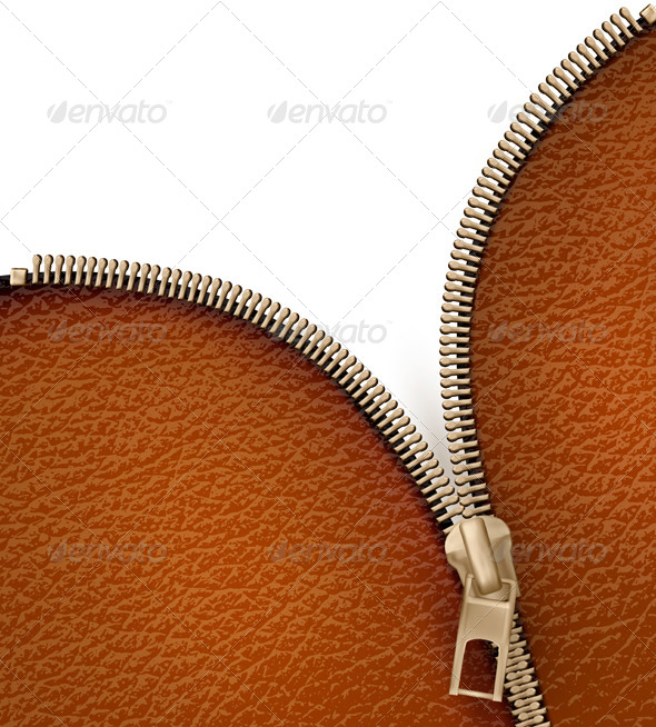 GraphicRiver Brown Leather Texture Background with Zipper 4903798