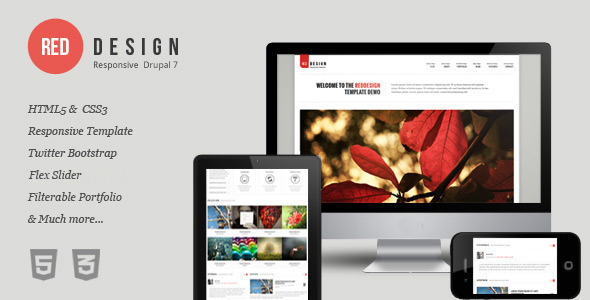 ThemeForest RedDesign Responsive Drupal 7 Theme 4875084