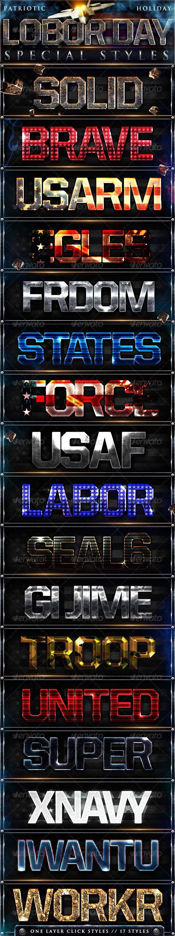 Labor Day Photoshop Styles - Text Effects Styles