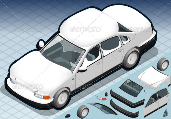 GraphicRiver Isometric Snow Capped White Car in Front View 4904309