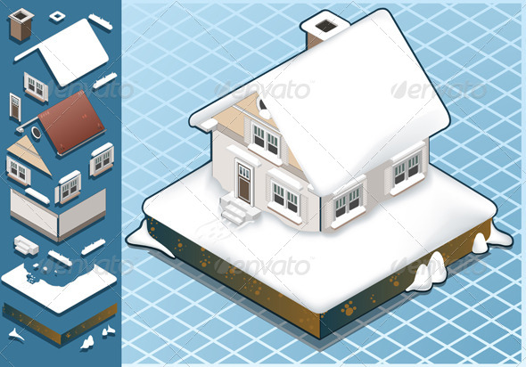 GraphicRiver Isometric Snow Capped House 4904312