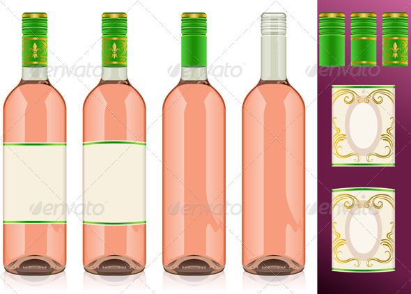 GraphicRiver Four Rose Wine Bottles with Labels 4904504