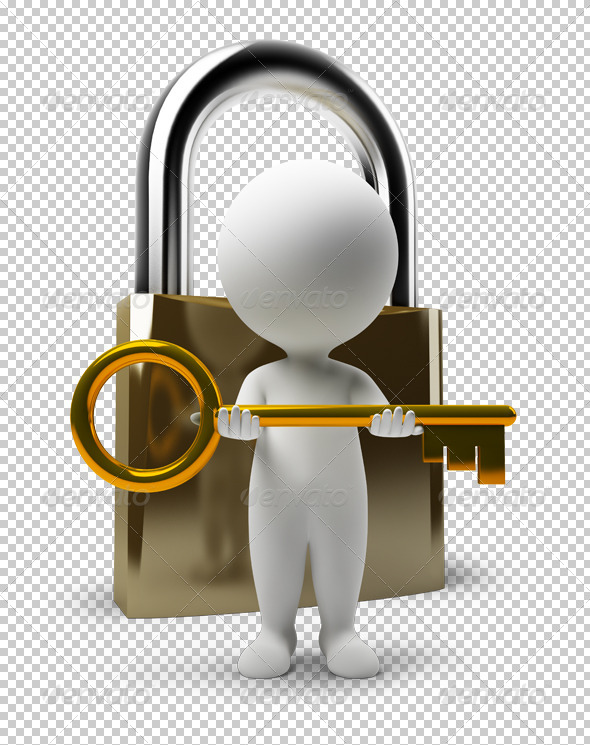 GraphicRiver 3D small people lock and key 4906761