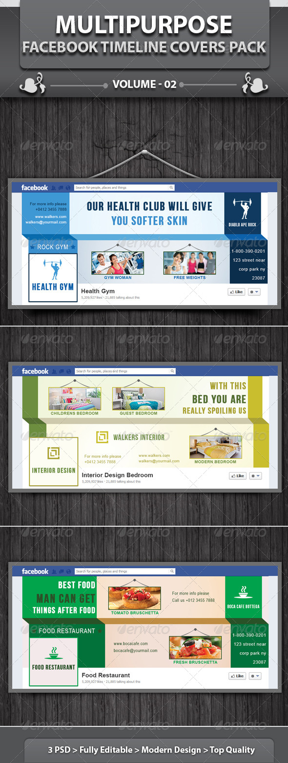 GraphicRiver Multipurpose Facebook Timeline Covers Pack v2 4908858