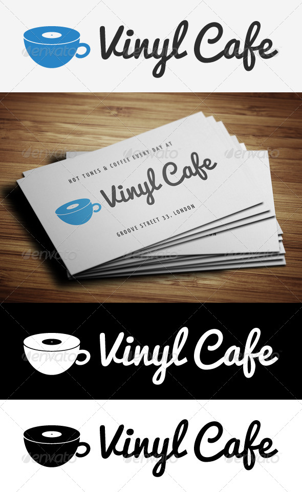 Vinyl Cafe Logo Template - Food Logo Templates