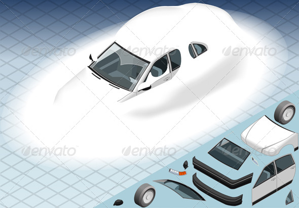 GraphicRiver Isometric Snow Capped White Car in Front View 4904498