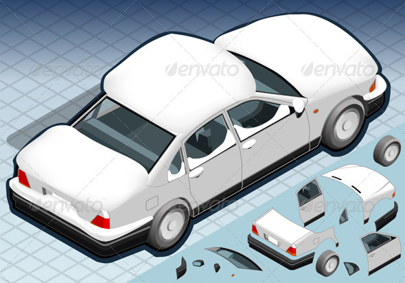 GraphicRiver Isometric Snow Capped White Car in Rear View 4904299