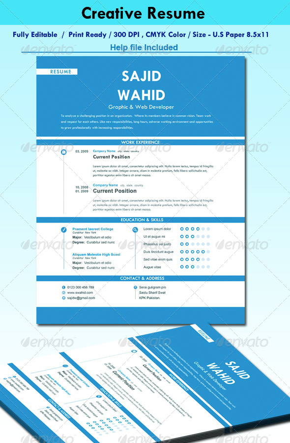 GraphicRiver Creative Resume CV 4910896