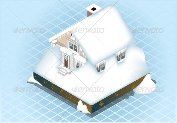 GraphicRiver Isometric Very Hard Snow Capped House 4910908