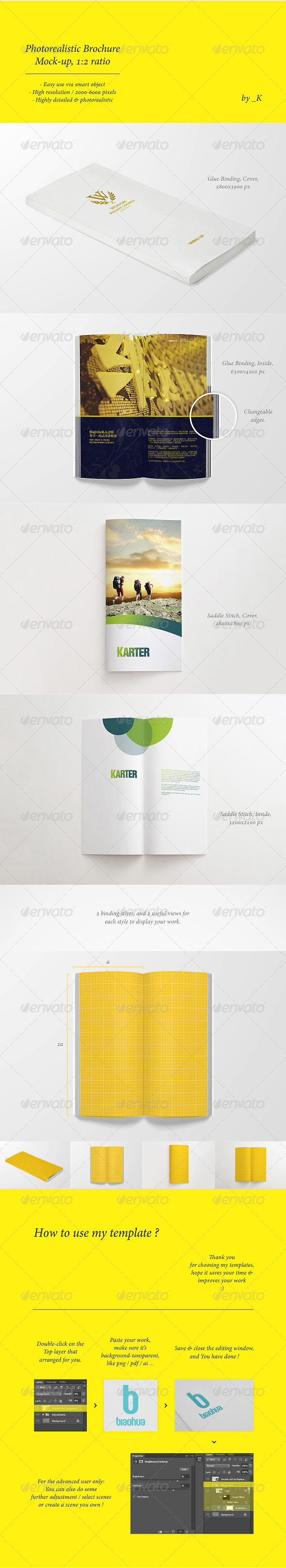 GraphicRiver Photorealistic Brochure Book Mock-Up 1 2 ratio 4912939
