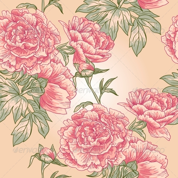 GraphicRiver Elegance Seamless Peony Pattern 4913059