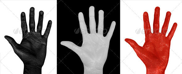 GraphicRiver Painted Hands White Black & Red 3-Pack 4915148