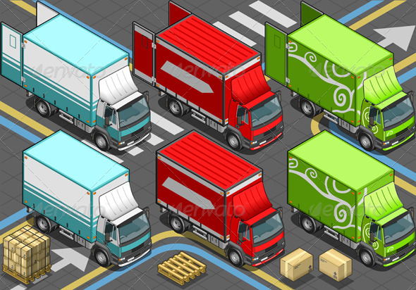 GraphicRiver Isometric Delivery Trucks in Front View 4910754