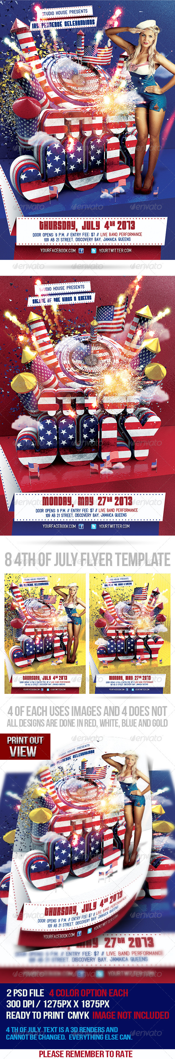 GraphicRiver 4th of July Party Flyer 4858287