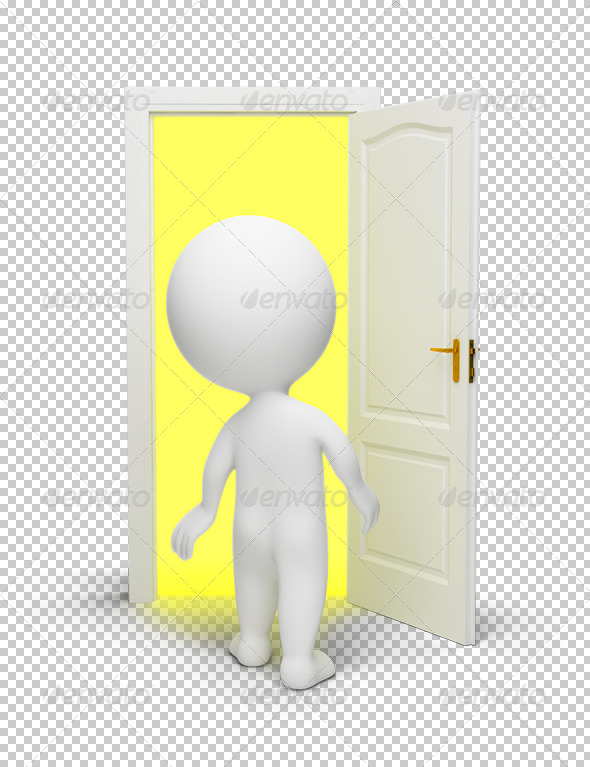 GraphicRiver 3D small people open door 4918234