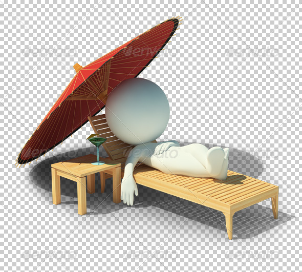 GraphicRiver 3D small people rest on a chaise lounge 4918445