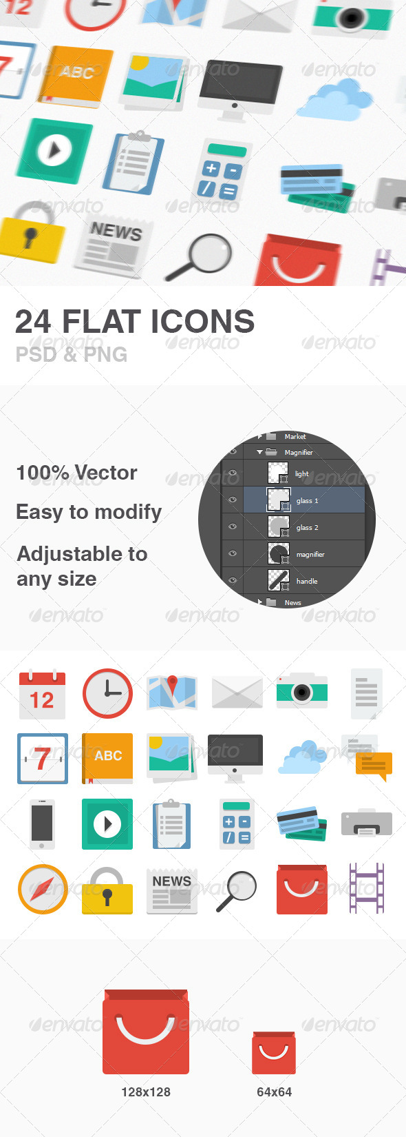 GraphicRiver 24 Flat Icons Set 4919499