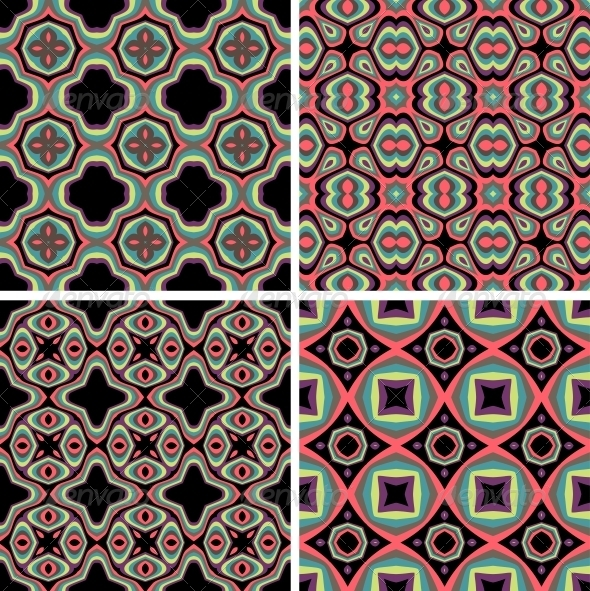 GraphicRiver Set of Seamless Colorful Retro Pattern Backgrounds 4921173