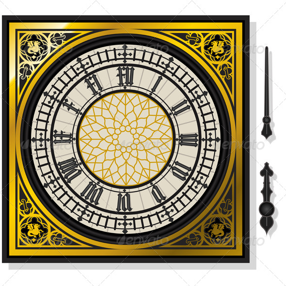 GraphicRiver Quadrant of Victorian Clock with Lancets 4910895