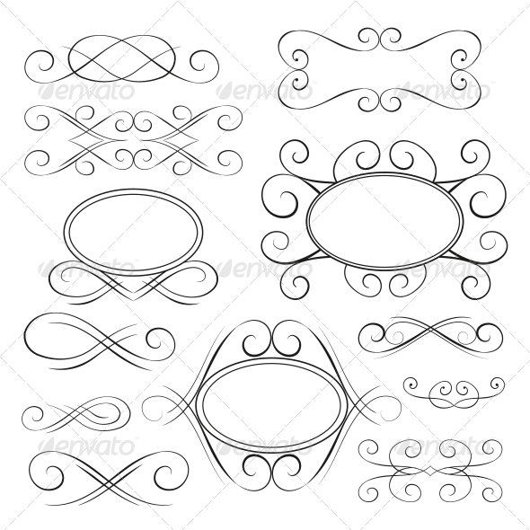 GraphicRiver Vector Set Calligraphic Design Elements 4923675