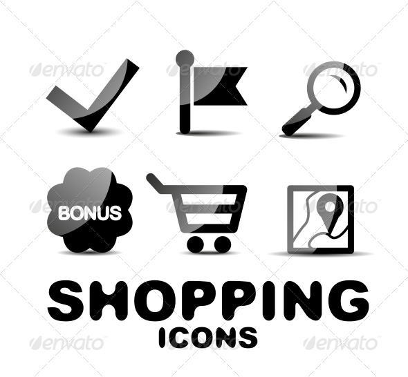GraphicRiver Black Glossy Shopping Icon Set 4924599