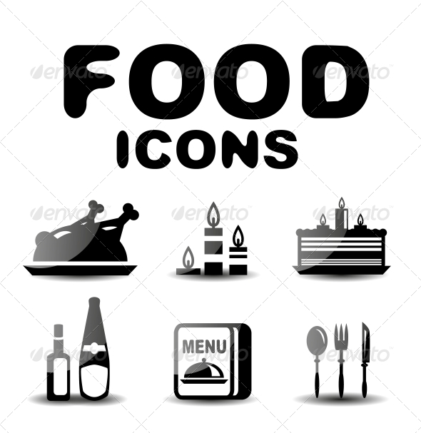 GraphicRiver Food Black Glossy Icon Set 4924601