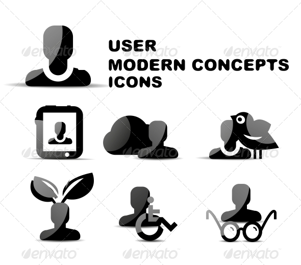 GraphicRiver Black Modern Person Concepts Glossy Icon Set 4924845