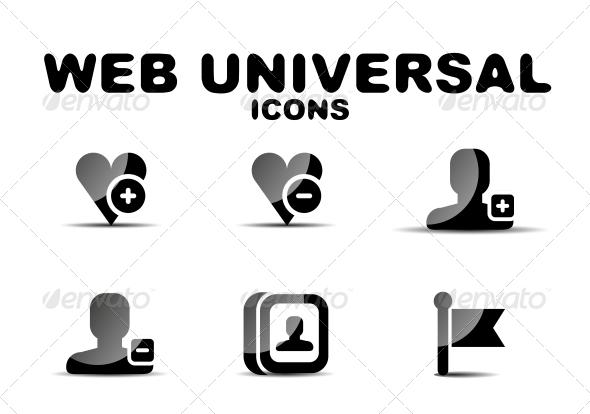 GraphicRiver Black Glossy Web Universal Icon Set 4925174