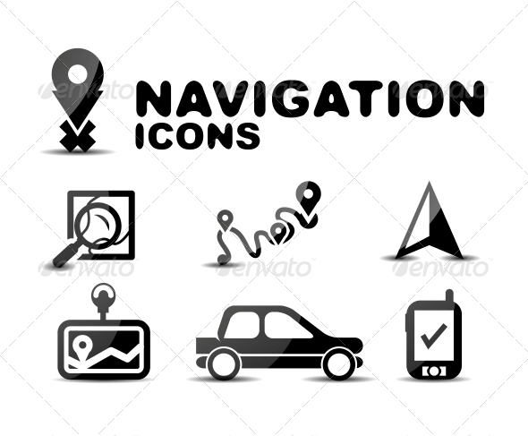 GraphicRiver Navigation Glossy Black Icon Set 4925312