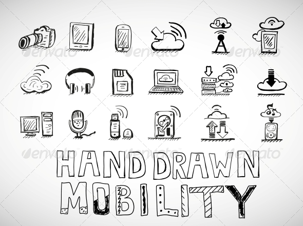 GraphicRiver Hand Drawn Mobility Icons Doodles 4925402