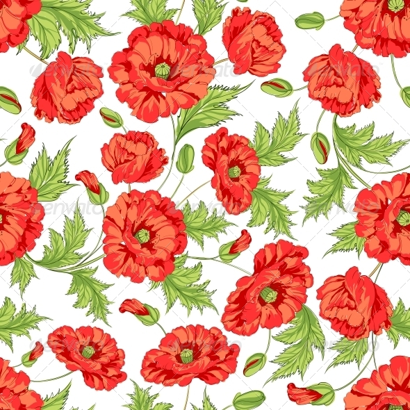 GraphicRiver Pattern of Poppy Flowers 4925573