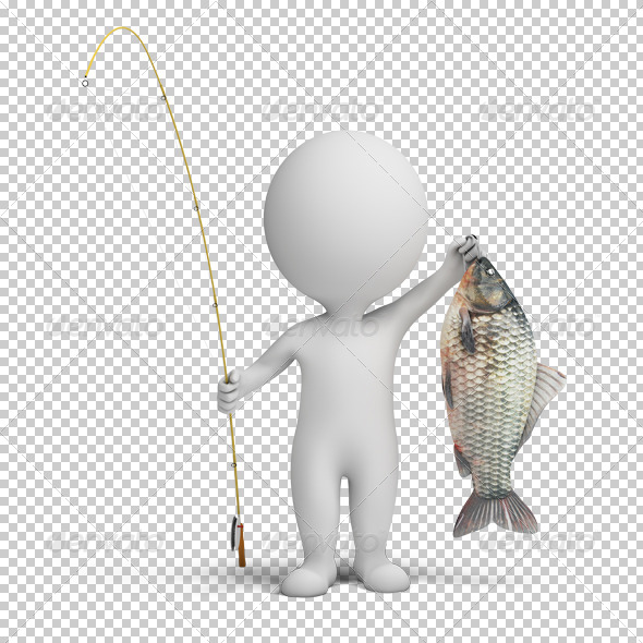 GraphicRiver 3D small people fisherman 4925632