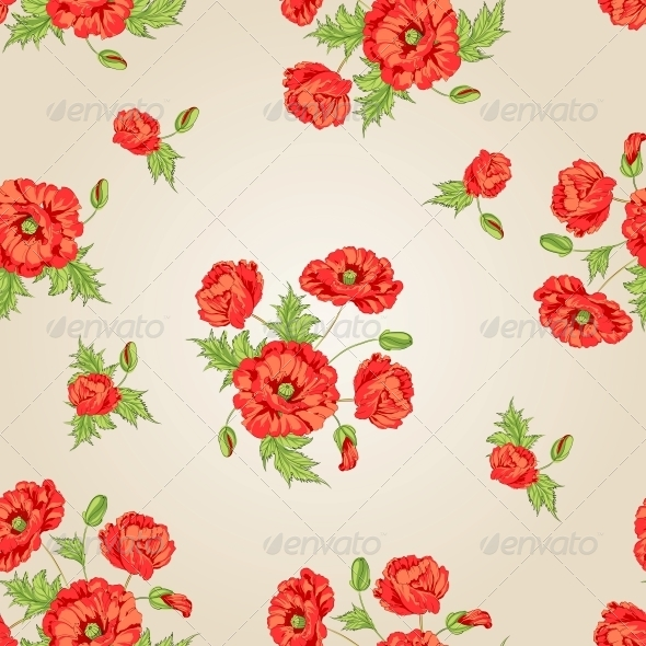 GraphicRiver Pattern of Poppy Flowers 4925697