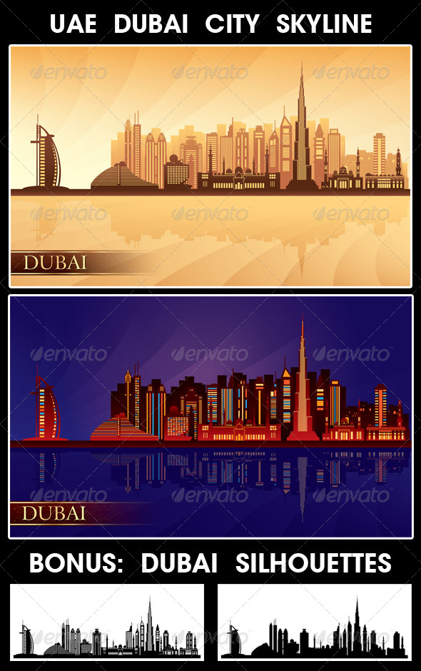 GraphicRiver Dubai City Skyline Silhouettes Set 4925736