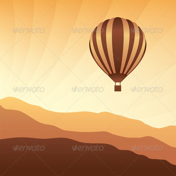 GraphicRiver Air Balloon in the Sky Vector Skyline Illustration 4925794