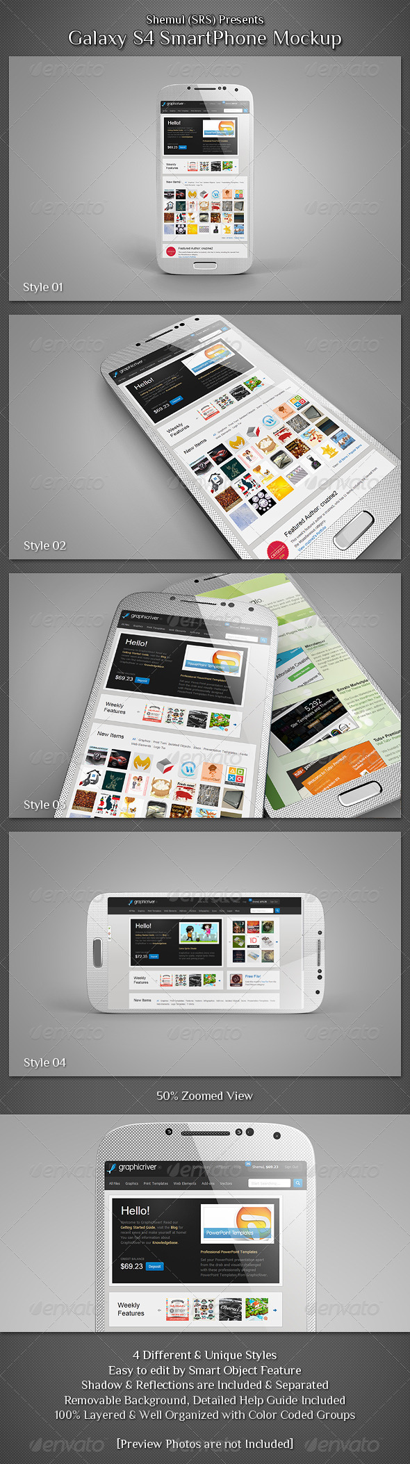 Galaxy S4 Smartphone Mockup - Mobile Displays