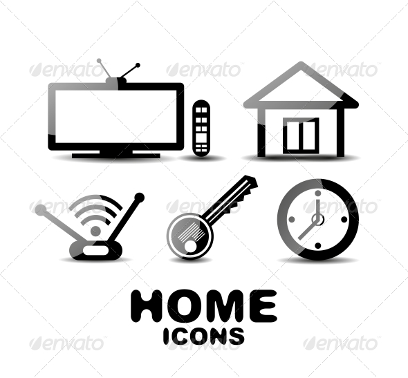 GraphicRiver Black Glossy Home Icons 4926071