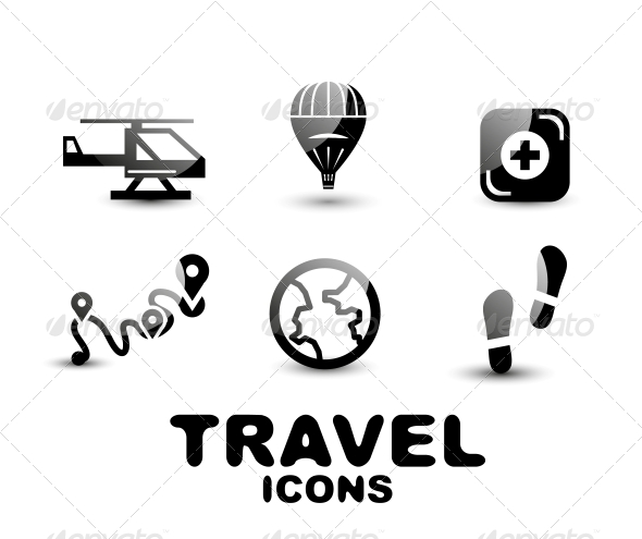 GraphicRiver Black Glossy Travel Icon Set 4926312